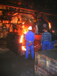 Pouring Hot Moltn Steel